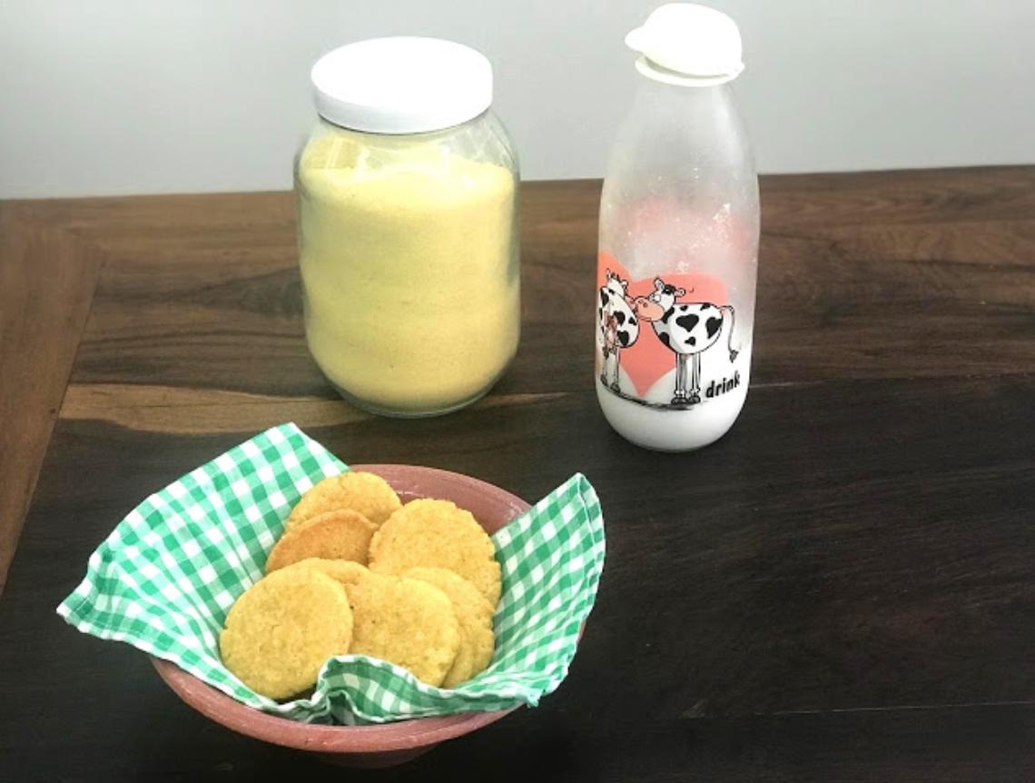 broa de milho e leite vegetal