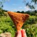 minha mão segurando um nacho em frente a uma paisagem cheia de árvores